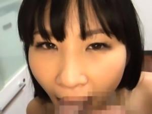 Hawt japanese babe has some joy sucking dick passionately