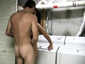 Brunette wifey gets seduced in the laundry room