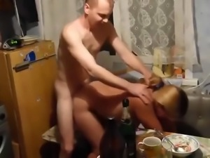 Russian ugly whore gets fucked. cum on ass. real homemade