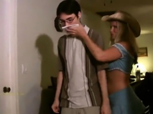 Sultry blonde mom offers a nerdy young boy a nice handjob