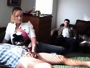 CUCK Watches his girl jerking small dicked stranger